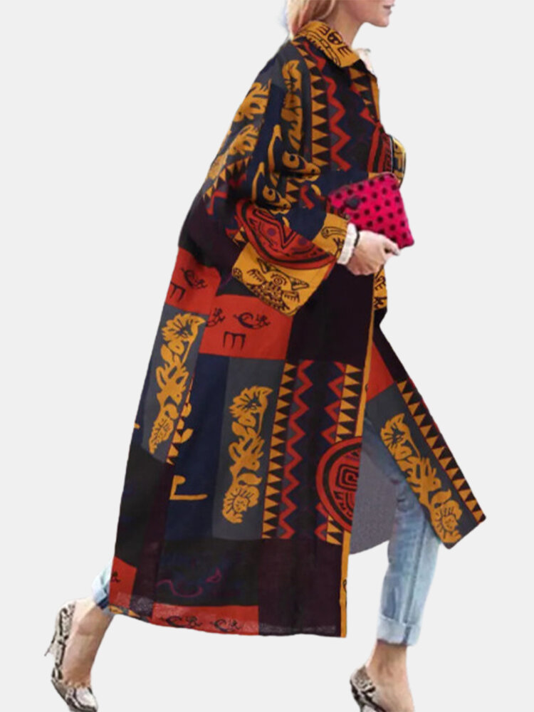 Ethnic Print Bell Sleeves Loose Casual Coat For Women