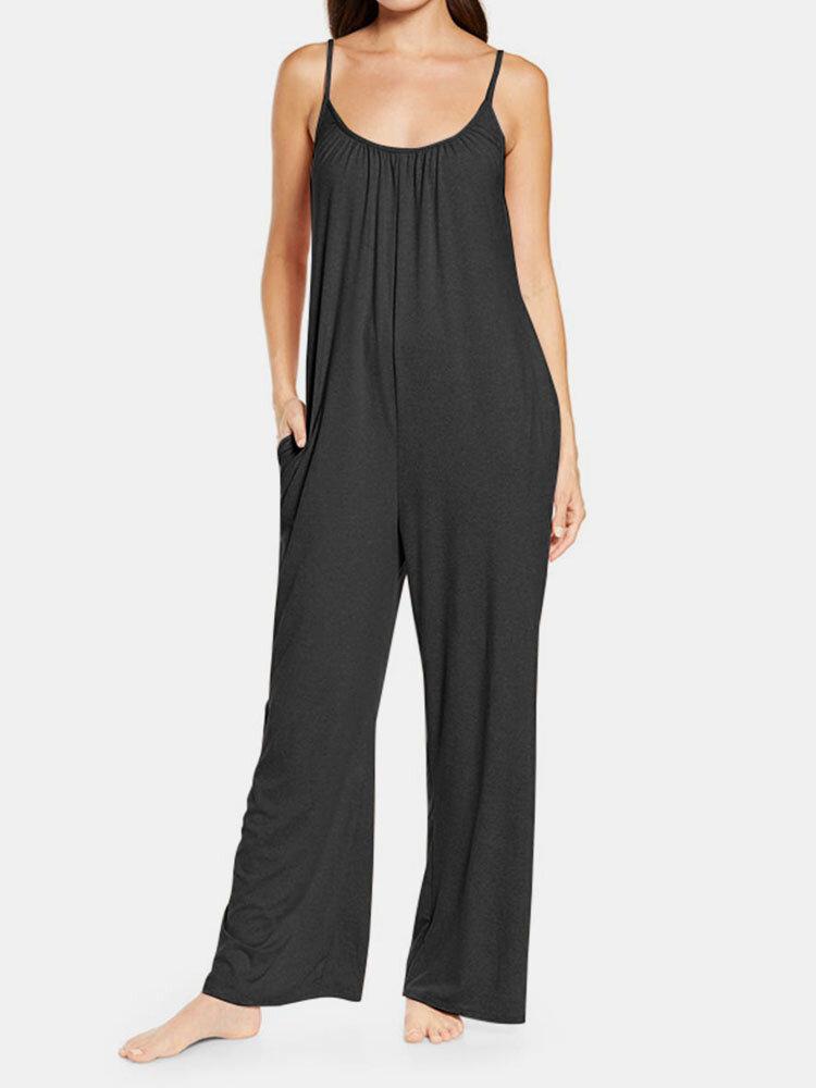 Adjustable Strap Plain Sleeveless Pocket Casual Plus Size Jumpsuit