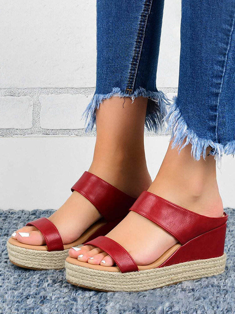 Women Comfy Wearable Casual Espadrille Platform Wedges Slippers