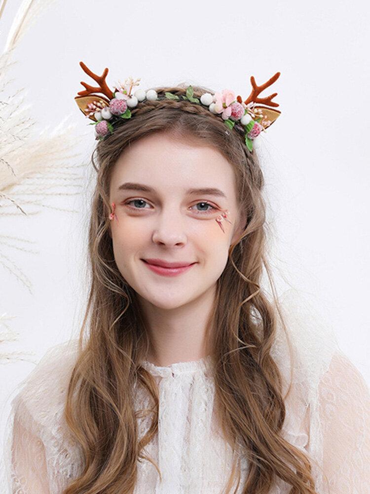 12 Pcs Christmas Children Hair Accessories Cute Cat Ears Elk Headdress Headband