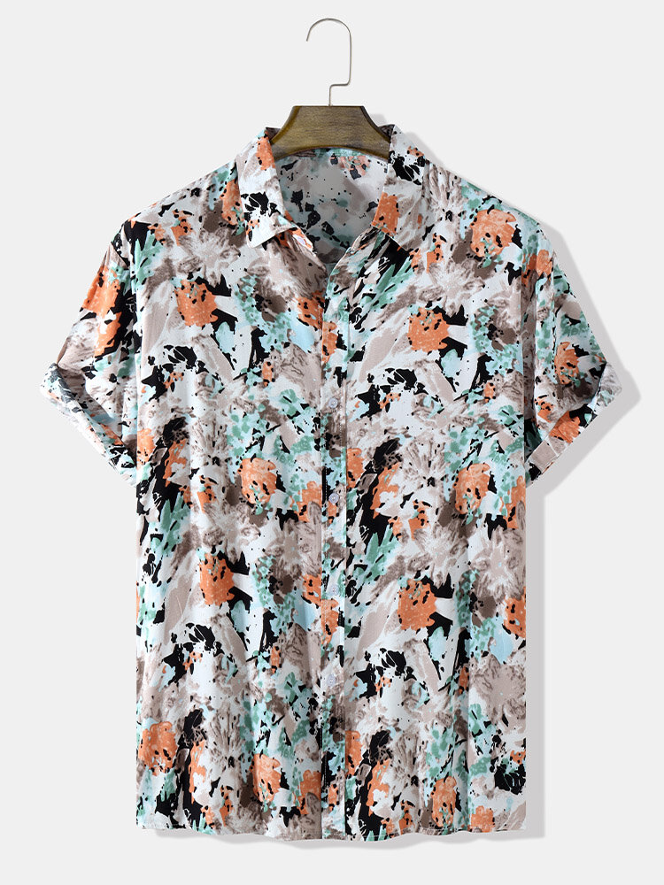 Mens All Over Splodge Watercolor Print Button Up Short Sleeve Shirts