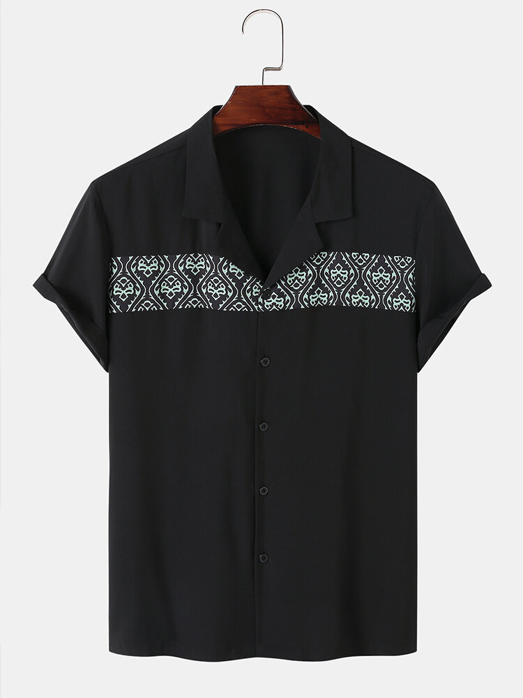 Mens Ethnic Pattern Stitching Camp Collar Casual Short Sleeve Shirts