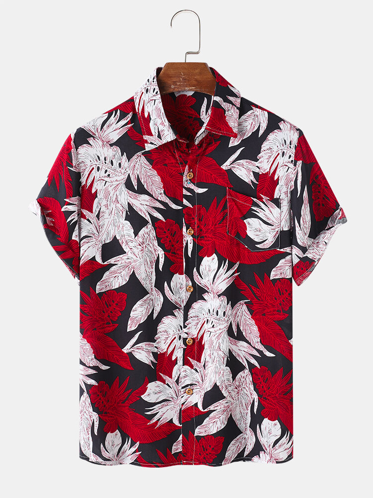 Mens Plant Leaf Print Chest Pocket Holiday Short Sleeve Casual Shirts