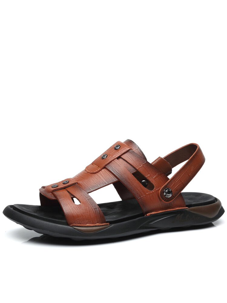 Men Opened Toe Slip-on Breathable PU Sole Cowhide Leather Two Ways Sandals