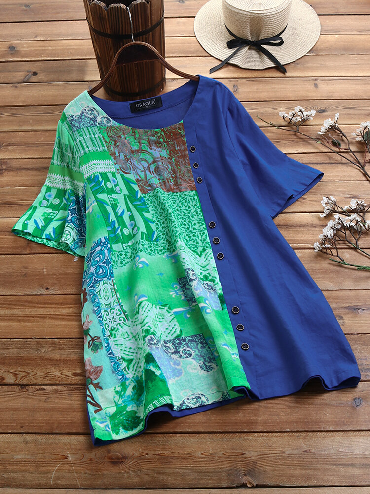 Patchwork Printed Short Sleeve O-neck Button T-shirt