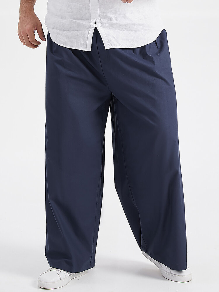 Plus Size Mens Brief Style 100% Cotton Solid Color Casual Wide Leg Pants