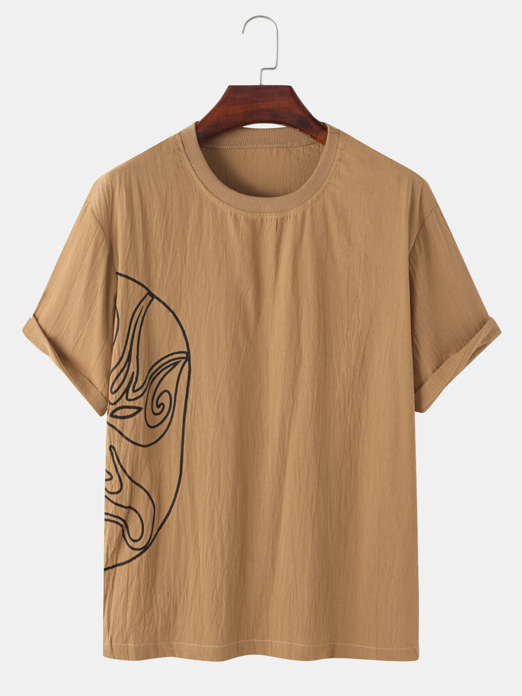 Mens Chinese Style Opera Face Print Linen Loose Short Sleeve T-Shirts