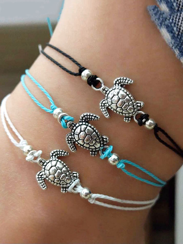 Bohemian Turtle Anklets Adjustable Wax Rope Black Blue White Ankle Bracelet Ankle Ring Foot Jewelry