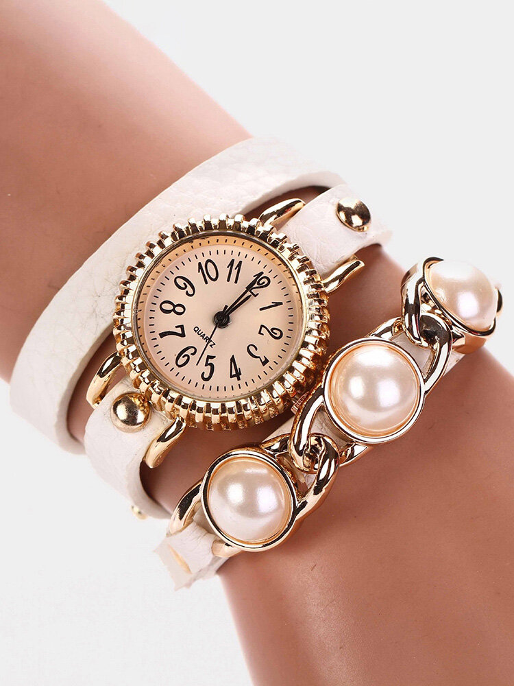 Trendy Pearl Bracelet Watch Three Layer Leather Watch Fashion Style Waterproof Quartz Watch