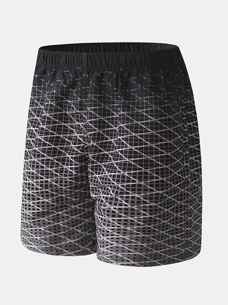 Men Gradient Geometry Twill Print Board Shorts Elastic Waist Soft Liner Swim Shorts