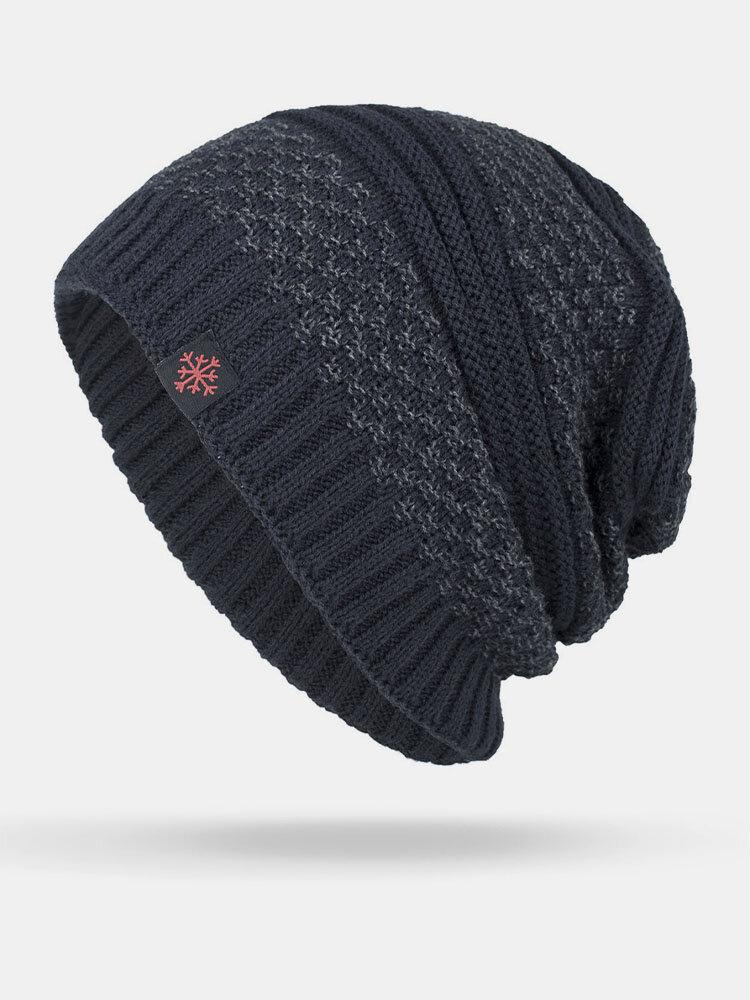 男性冬Plusベルベットコントラストストライプパターン屋外ニット暖かいビーニー帽子