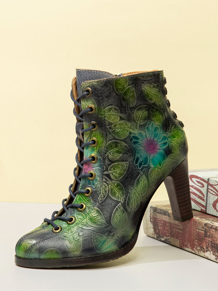 SOCOFY Retro Flower Leaves Printed Cowhide Leather Comfy Chunky Heel Ankle Boots