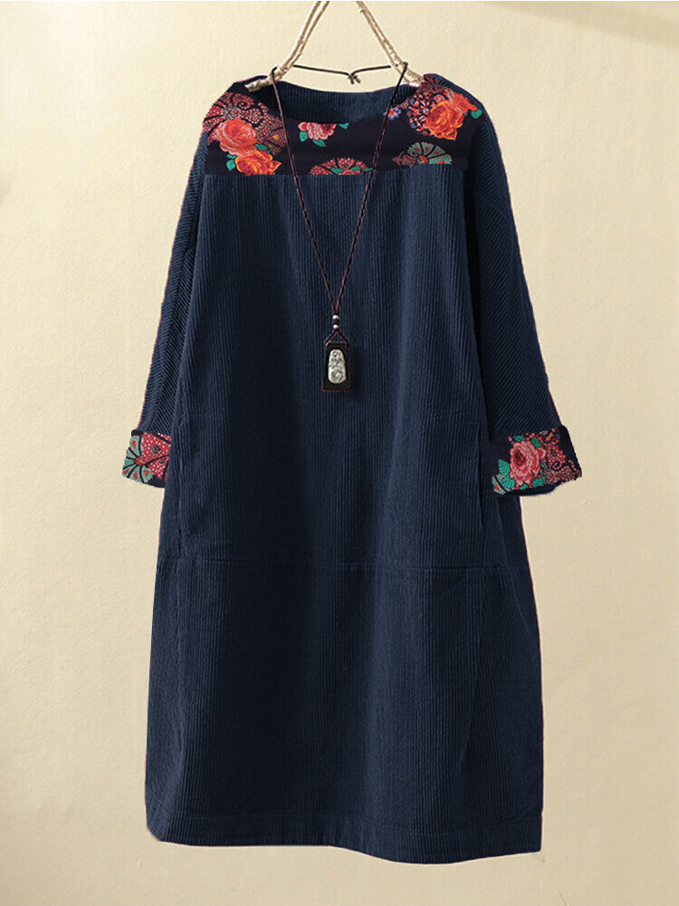 Corduroy Patchwork Print Long Sleeve Plus Size Dress with Pockets