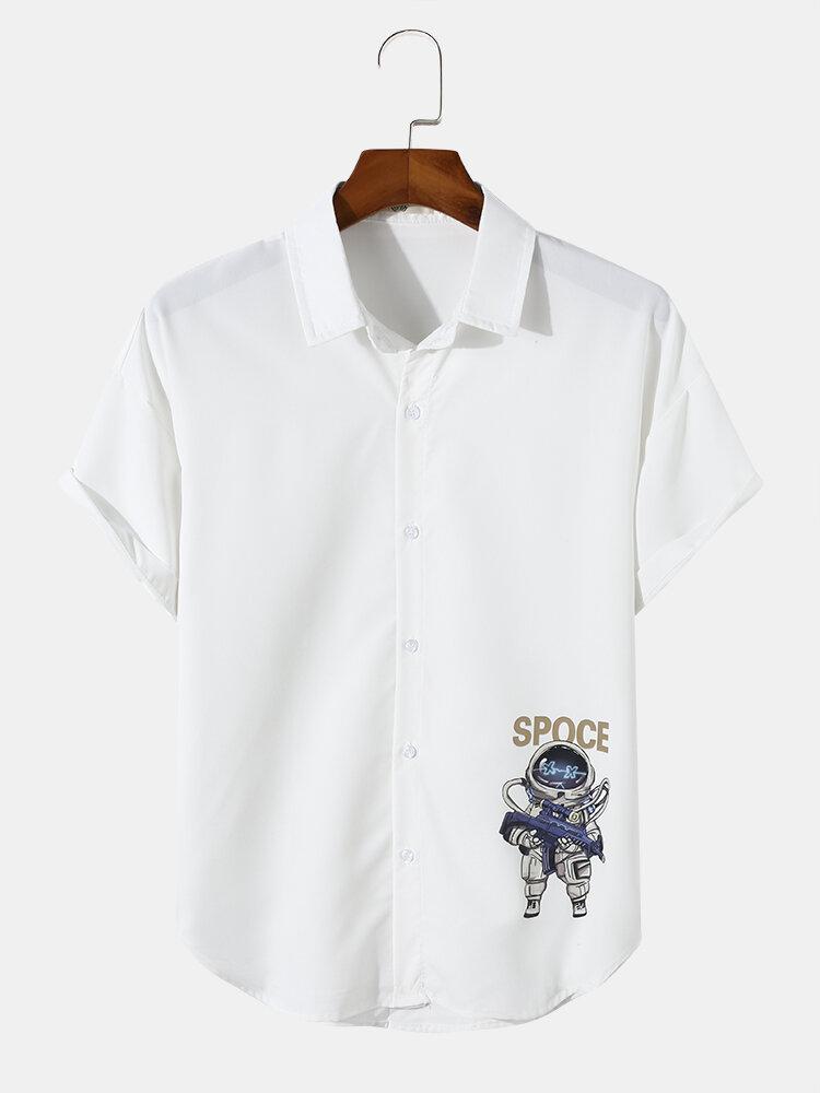 Mens Astronaut Print Letter Short Sleeve Curved Hem Shirt