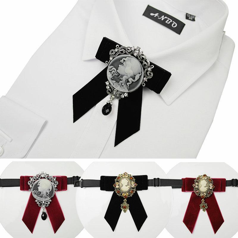 Vintage Bow Tie Farbic Geometric Velvet Crystal Avatar Pendant Bow Bolo Tie Formal Jewelry for Men