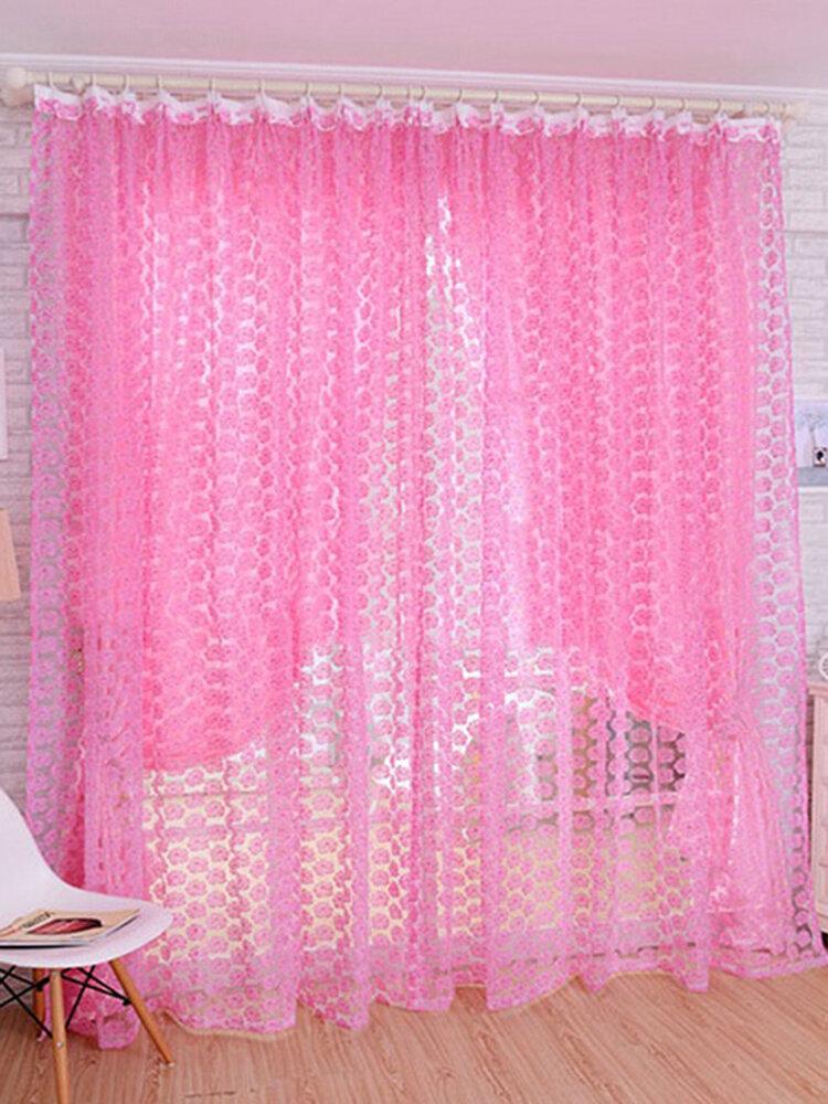 1 Panel 100 * 210 cm Flor Impreso Floral Gasa Tul Cortina de ventana Pantalla de ventana transparente