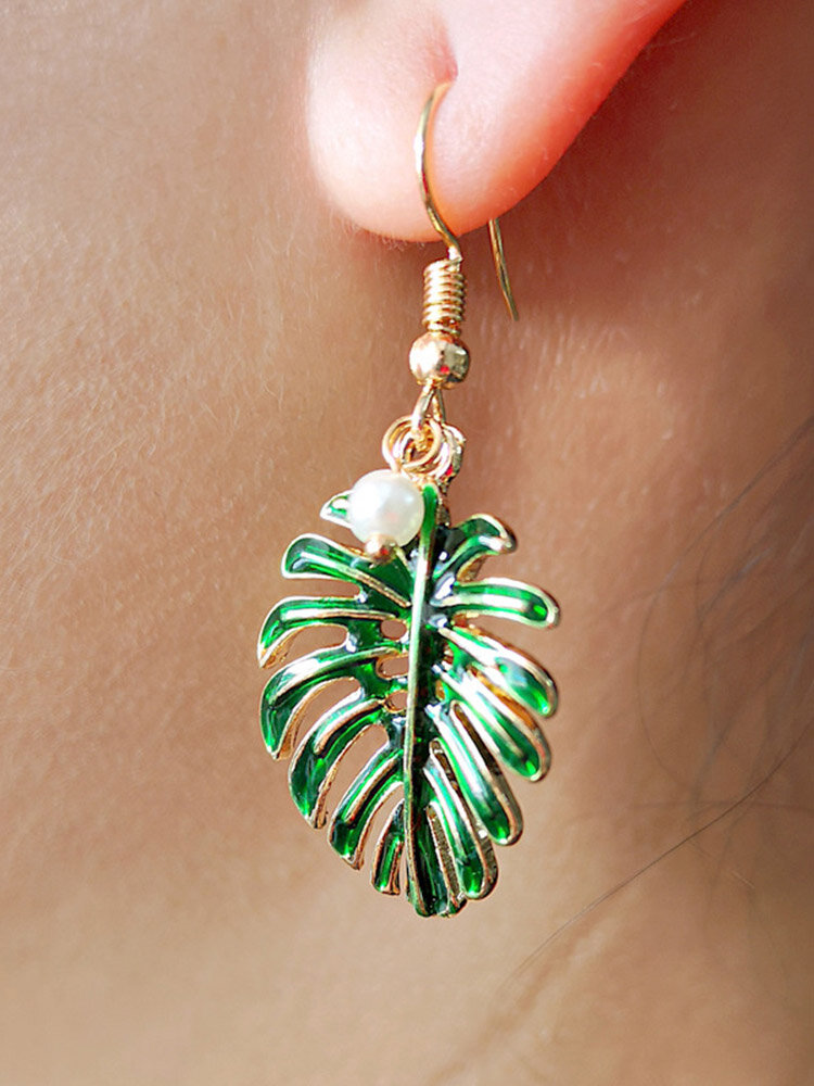 Bohemian Coconut Leaf Small Fresh Earrings 18k Gold Plated Pearl Pendant Earring