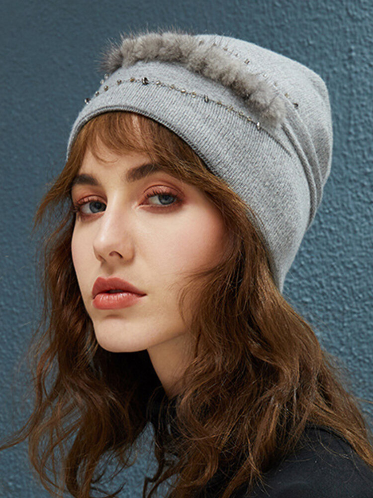Women Cotton Warm Solid Color Beanie Hat Outdoor Casual Windproof Ear Protection Hat