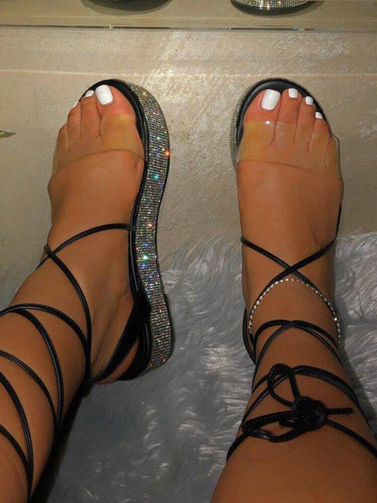 Women Casual Transparent Sequined Platform Strappy Sandals