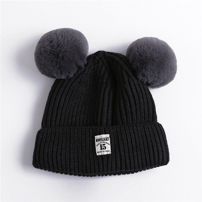 Winter Baby Warm Solid Knitted Hat With Two Fur Pompoms Boy Girls Beanie Caps For 0-3 Years