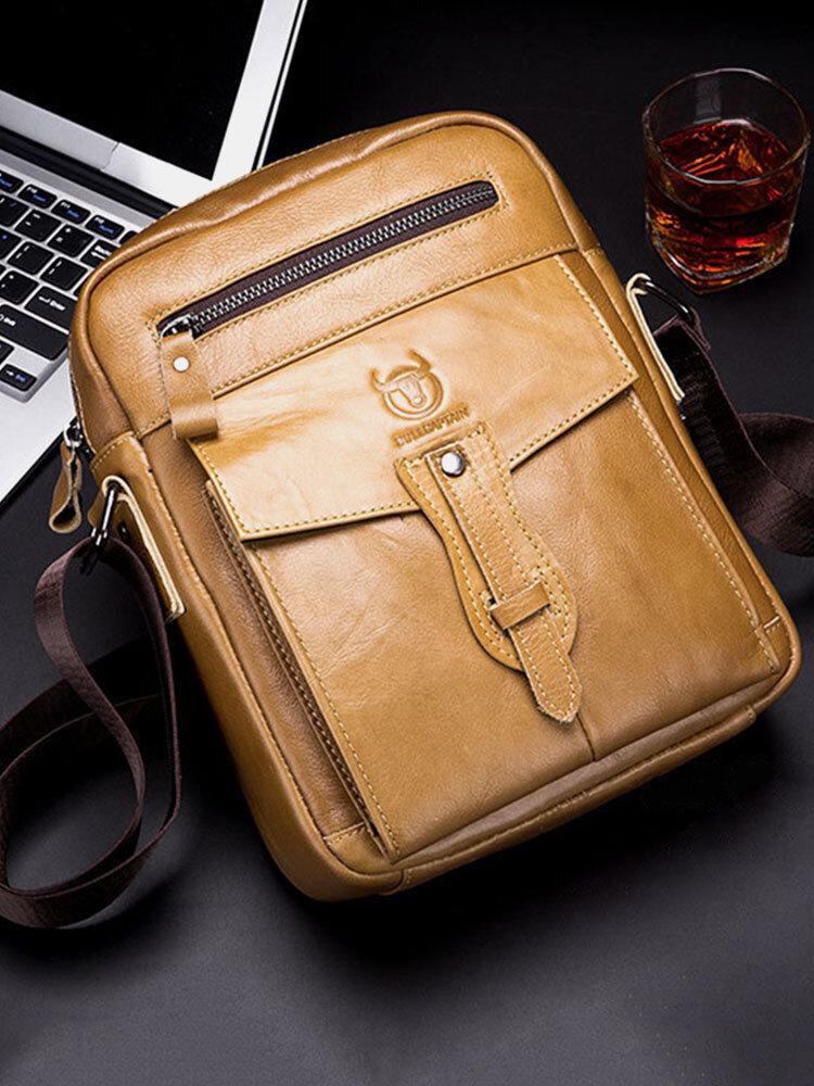 Men Genuine Leather Business Retro Solid Crossbody Bag Shoulder Bag