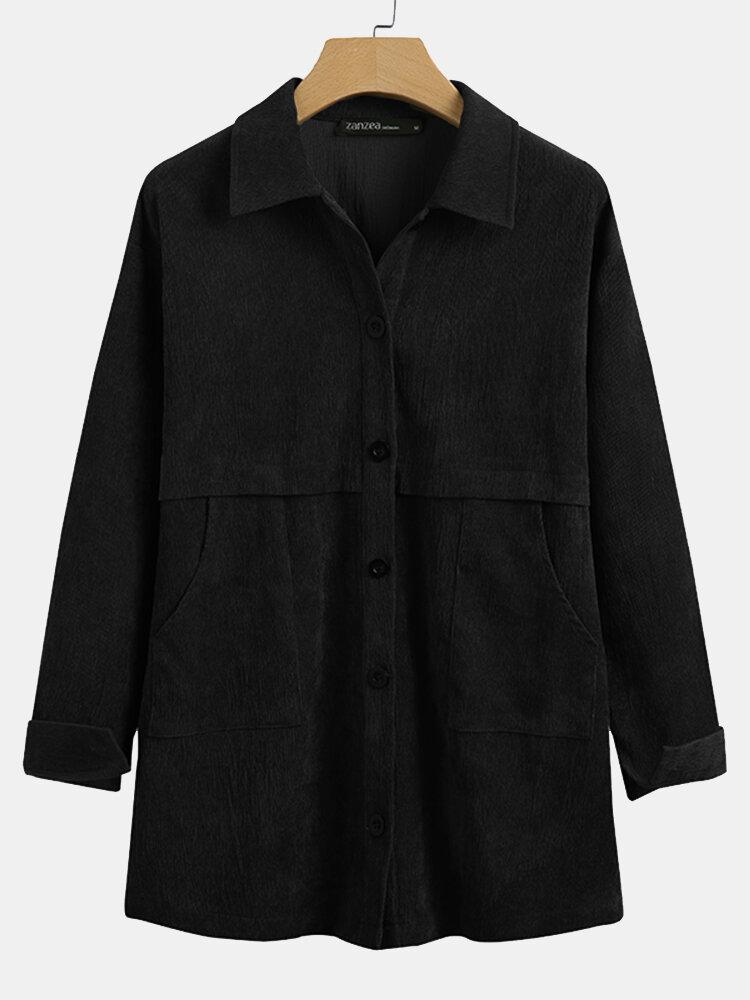 Женская вельветовая однотонная куртка с длинным рукавом и воротником с лацканами