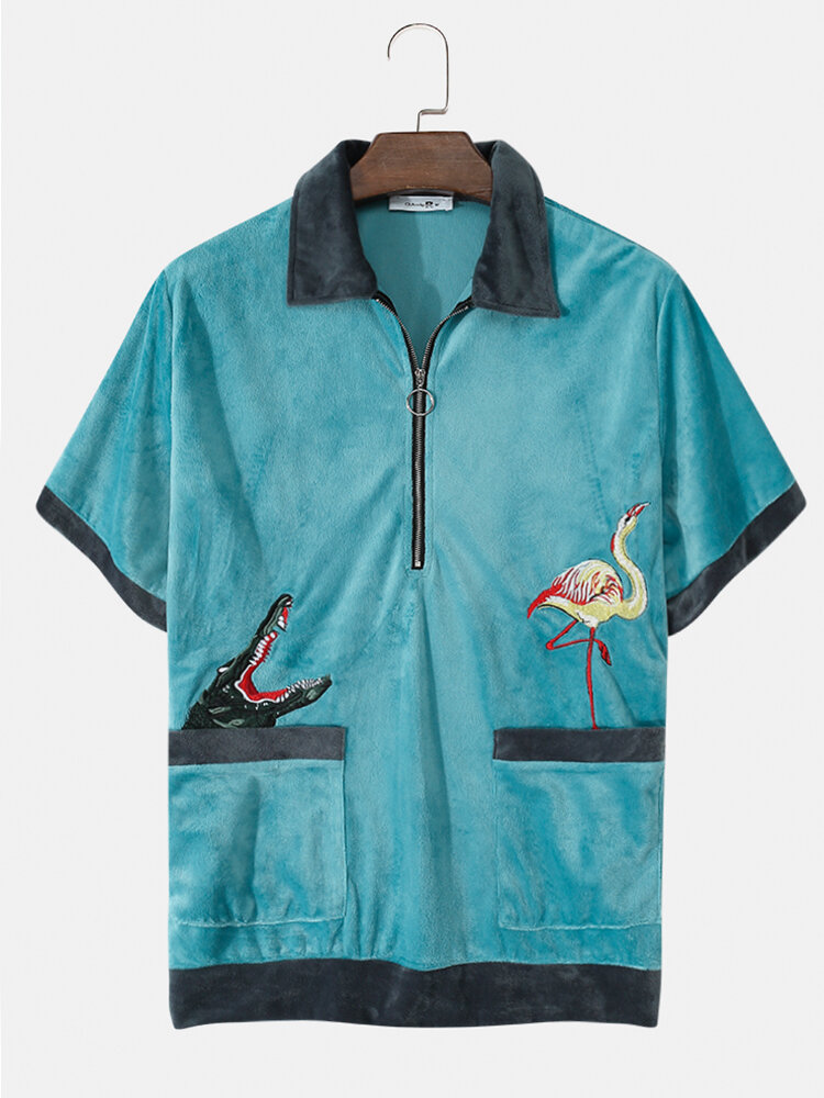 Mens Contrast Towelling Animal Embroidered Half Zip Short Sleeve Golf Shirts