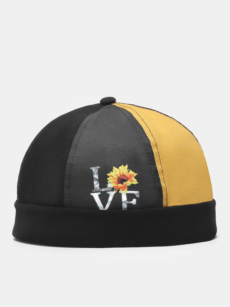 Unisex Cotton Sunflower Patchwork Pattern Fashion Energetic Brimless Beanie Landlord Cap Skull Cap
