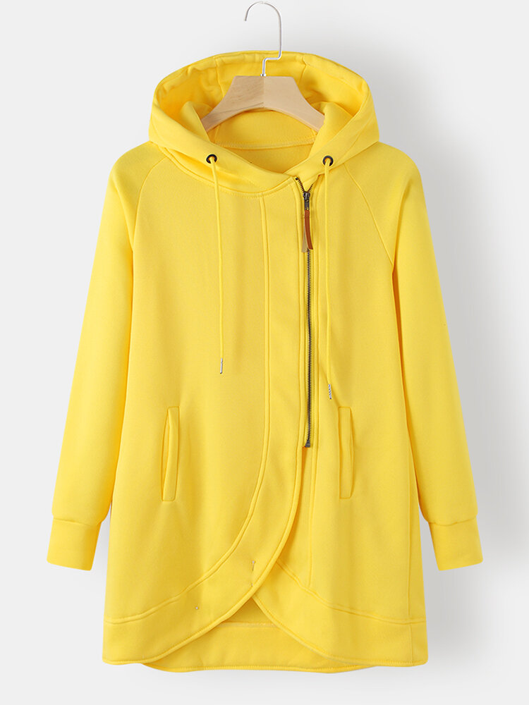 Solid Color Zip Front Pocket Casual Hoodie For Women