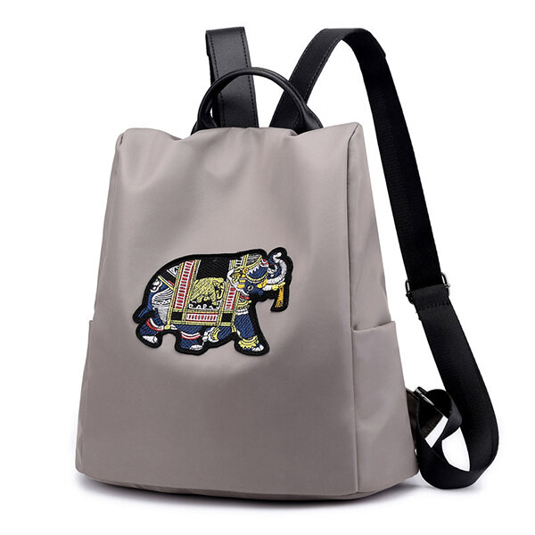 Women Anti-theft Backpack Purse Elephant Embroidery Shoulder Bag (SKUB66671) photo