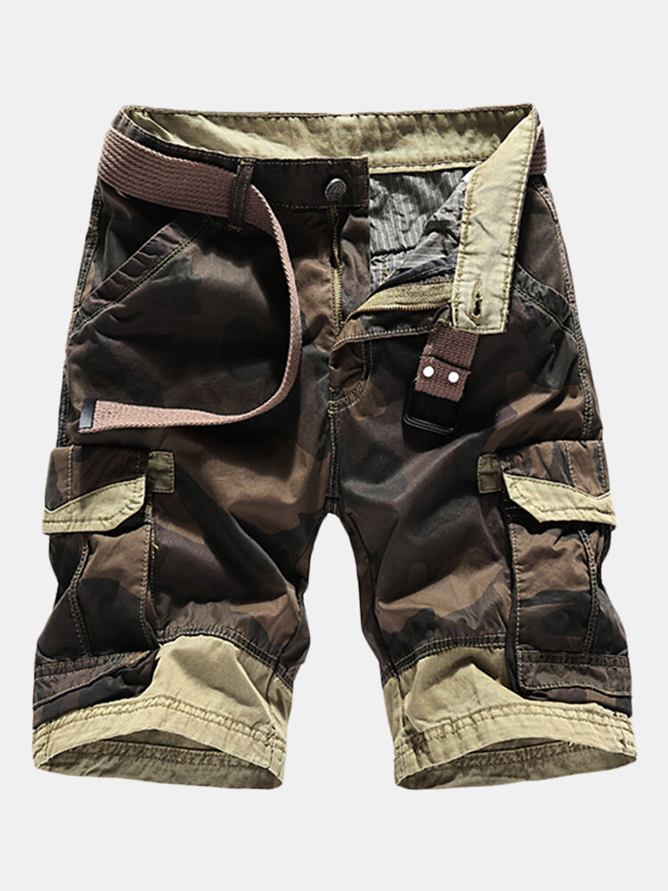 Mens Summer Breathable Cotton Cargo Shorts Multi-pocket Camouflage Knee Length Casual Shorts