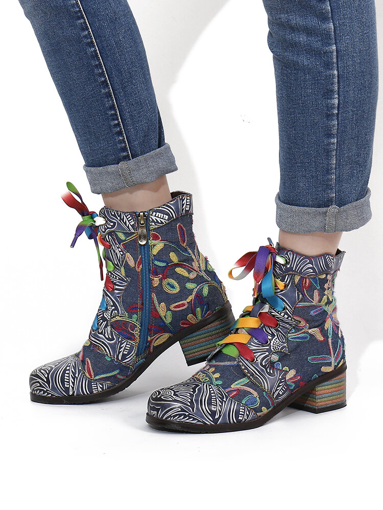 SOCOFY Brief Flowers Embroidered Splicing Printed Leather Wearable Chunky Heel Short Boots
