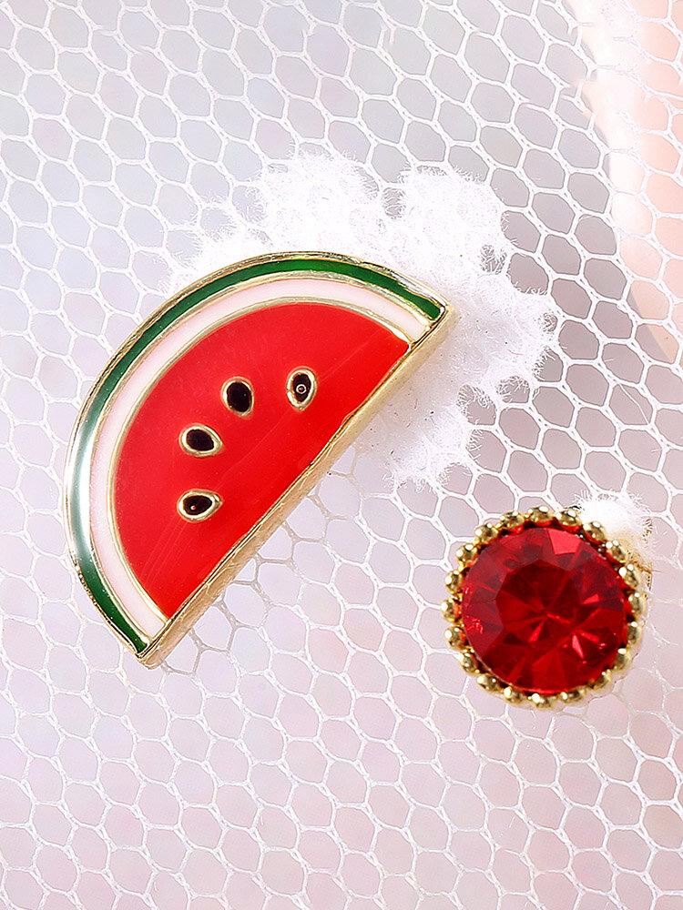 Cute Earrings Watermelon Round Zircon Asymmetric Res Earrings Jewelry for Women