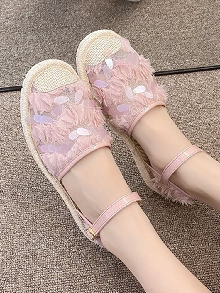 New Fashion Splicing Sequined Straw Comfortable Flat Buckle Backless Sandals For Women