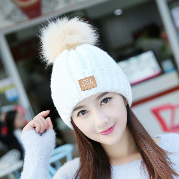 Women Winter Warm Solid Color Skullies Beanies Hat With Fur Pompom Windproof Ear Warm Knitted Hat