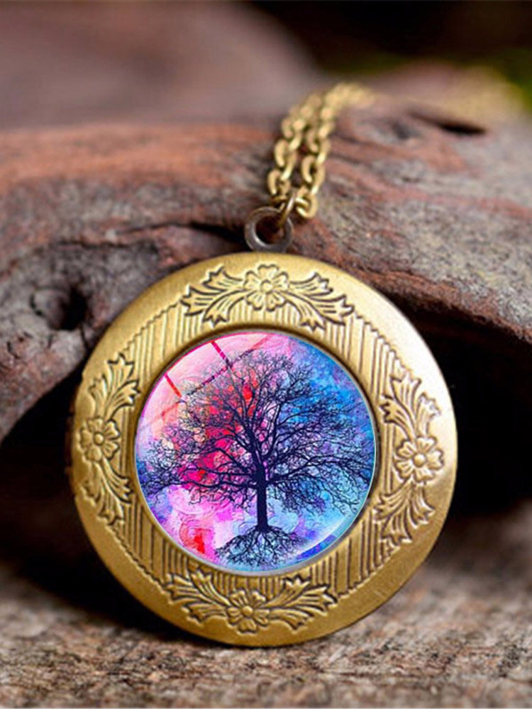 Vintage Glass Printed Women Necklaces Tree Of Life Phase Box Pendant Sweater Chain