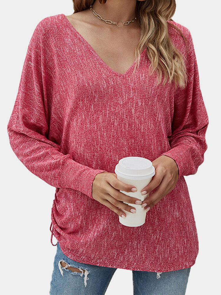 Solid Color Long Sleeves V-neck Thin Drawstring Knitted Sweater