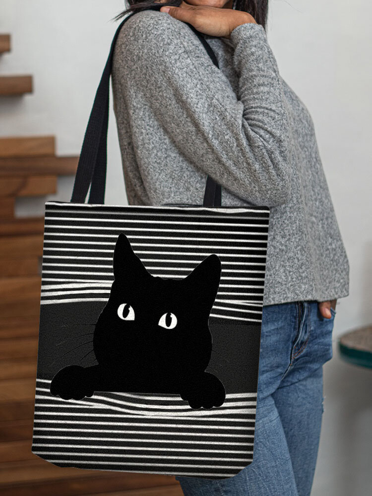 Women Black Cat Striped Shoulder Bag Handbag Tote