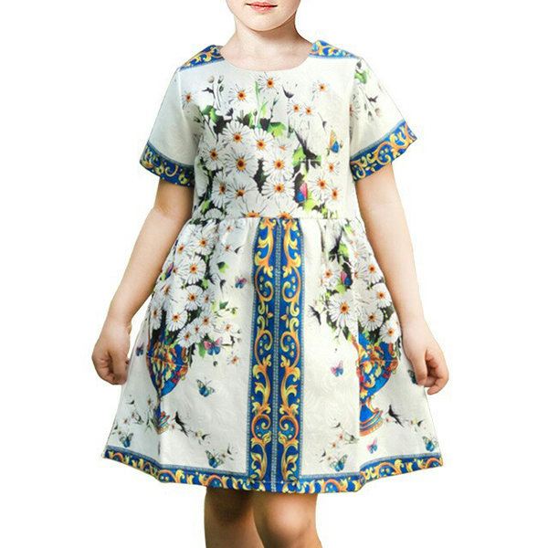 Printed Girls Party Dress Short Sleeve A-Line Summer Pageant Dresses Kid Girls Clothes