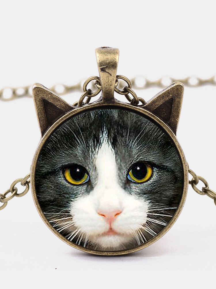 Vintage Printed Black White Cat Face Women Necklace Cat Ear Glass Pendant Sweater Chain