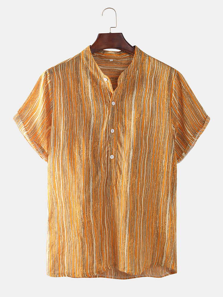 Mens Yellow Striped Printed Chest Pocket Loose Henley Shirts
