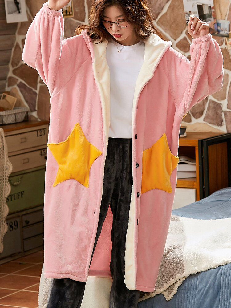 Women Coral Fleece Double Star Pockets Thick Warm Loose Button Up Sleepwear Hooded Robes