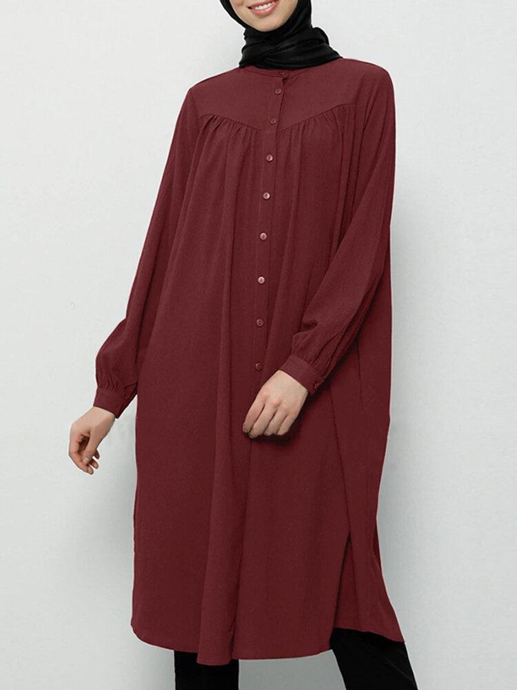 Casual Solid Color Stand Collar Button Midi Dress