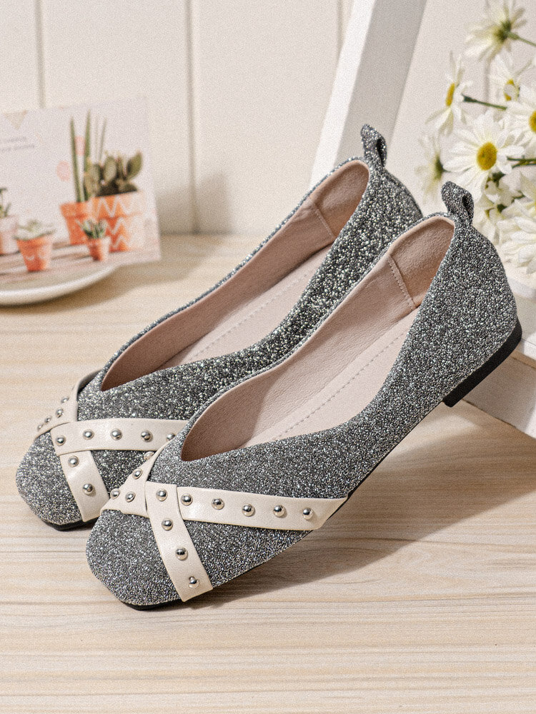 Women Fashion Square Toe Ballet Shoes Sequins Decor Loafers Casual Flats