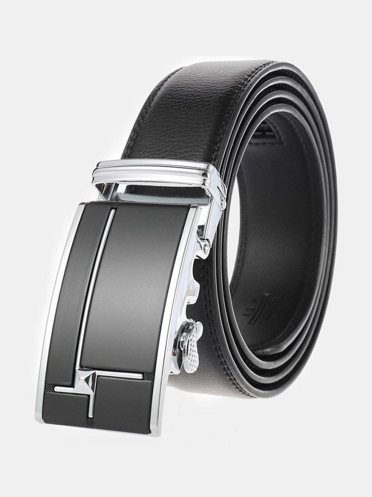 Men Rectangular Alloy Automatic Buckle Casual Business Belt