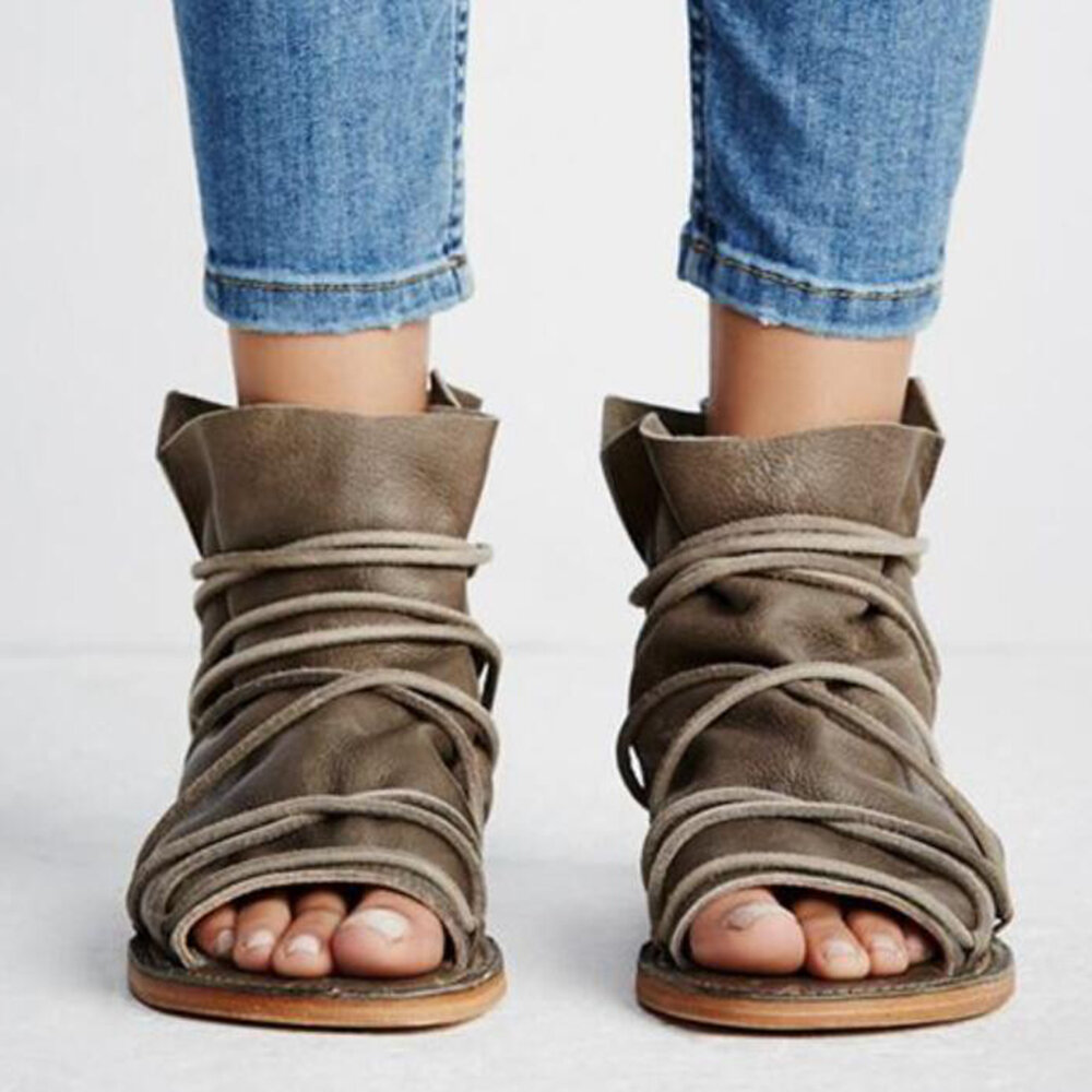 Women Casual Open Peep Toe Lace Strap High Top Flat Sandals