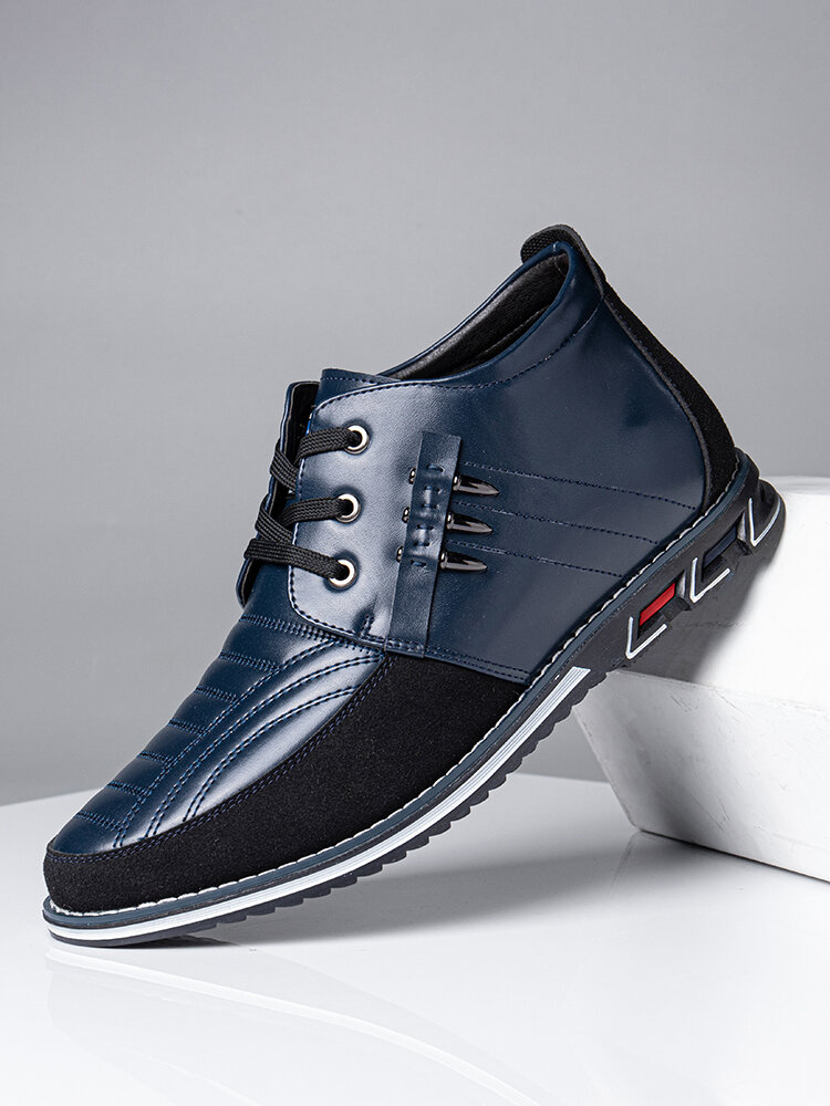 Men Microfiber Leather Rivet Lace Up Business Casual Ankle Boots