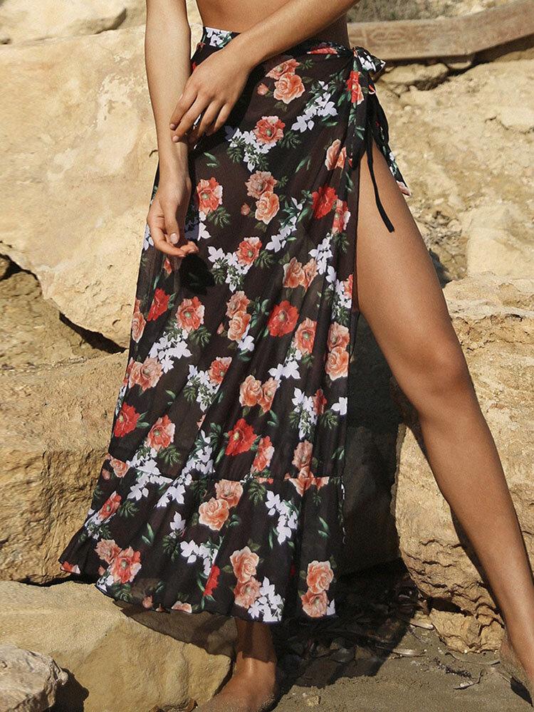 Costume da bagno donna con stampa floreale e gonna laterale con protezione solare in rete