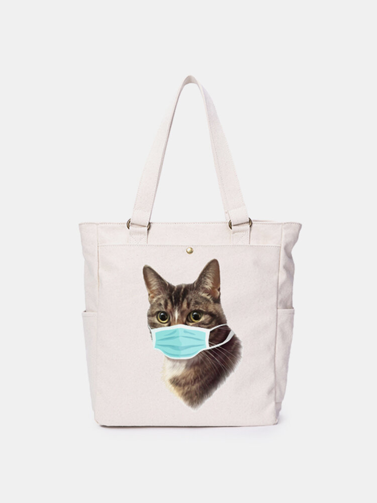 Women Cat Pattern Mask Casual Canvas Shoulder Bag