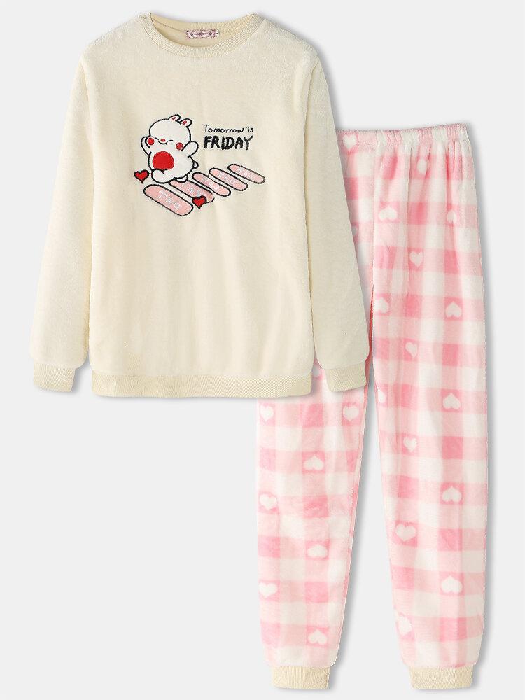Women Plush Animal Letter Embroidered Heart Print Crew Neck Cute Warm Pajamas Set